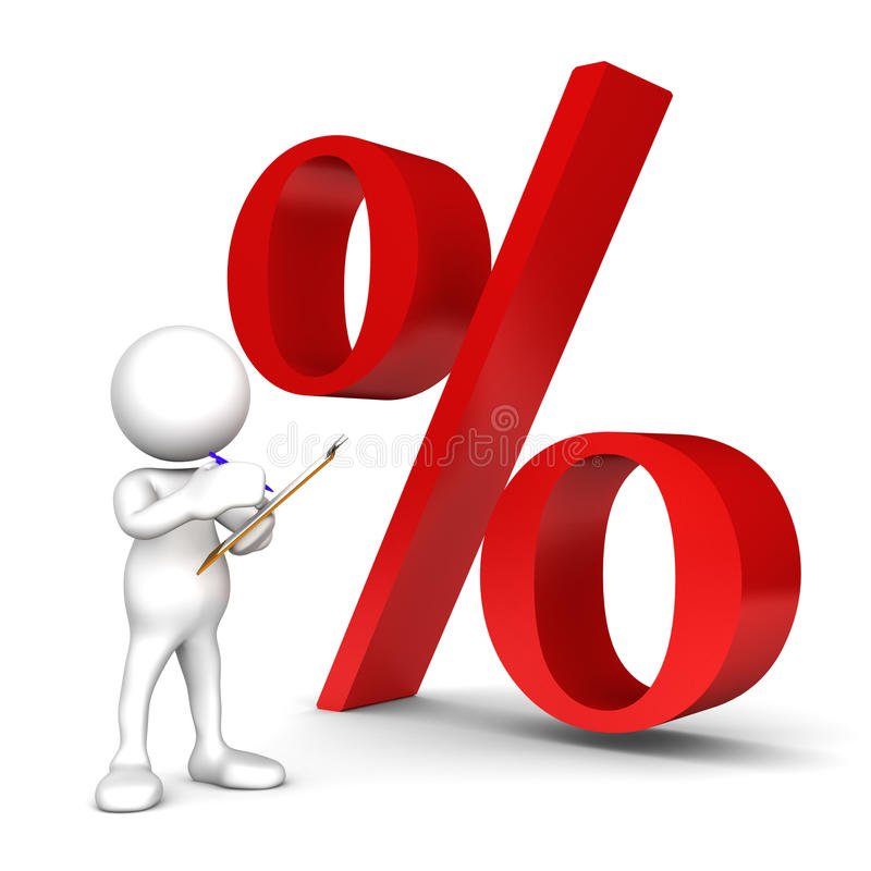 Percentage. Three dimensional render of a cartoon human figure, holding a clipboard and writing while standing in front of a percentage symbol royalty free illustration