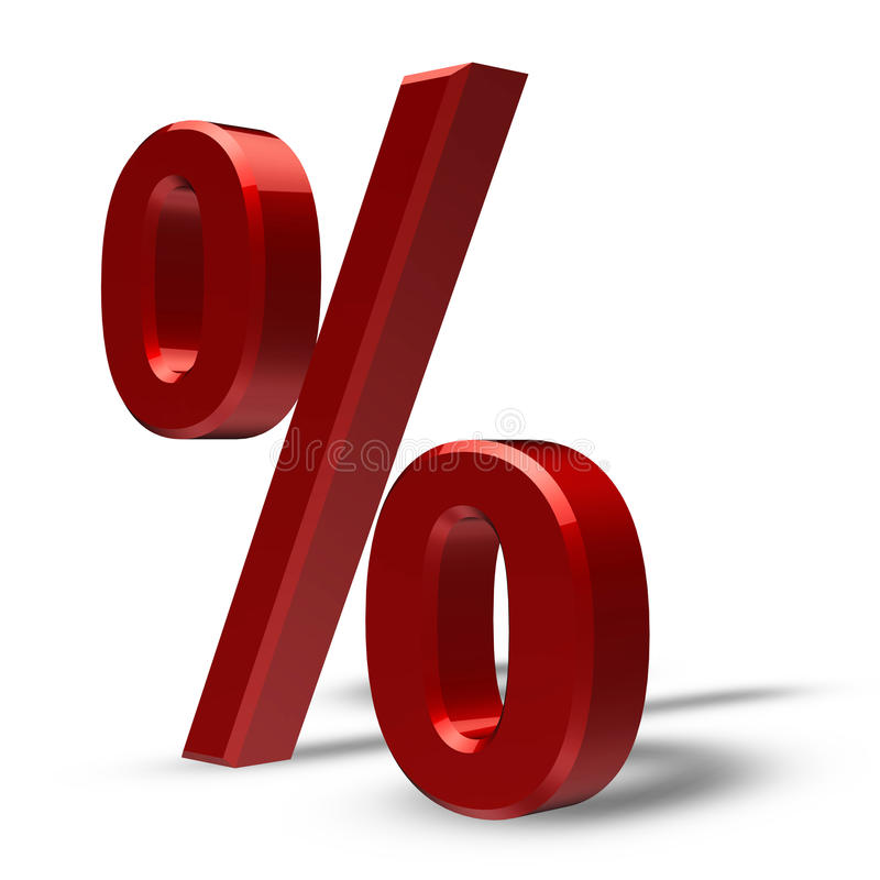PERCENTAGE. – red bevel with white background stock illustration