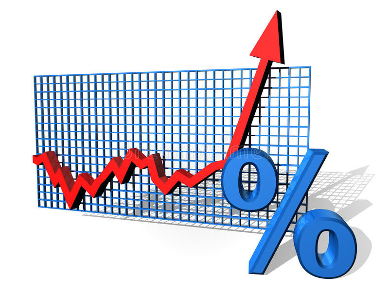 Percentage chart. Illustration of a percentage chart on the up