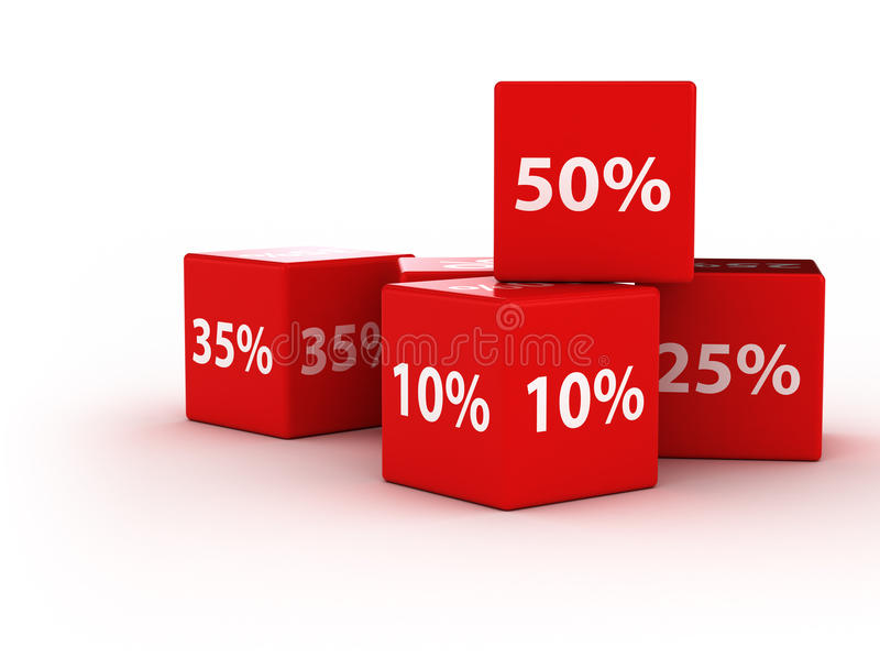 Percentage cubes. Percentage red cubes discount background royalty free illustration