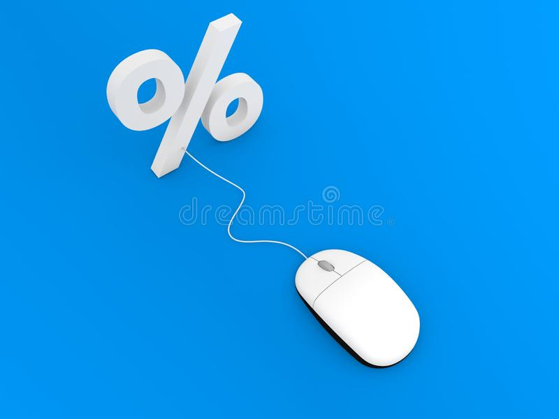 Percentage en computermuis Online handel drijvend stock illustratie