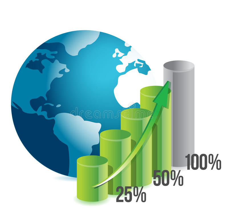 Percentage Graph And Globe Royalty Free Stock Photo