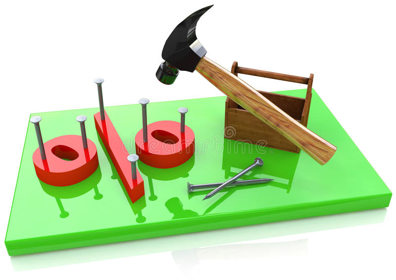 Percentage and a hammer stock photos