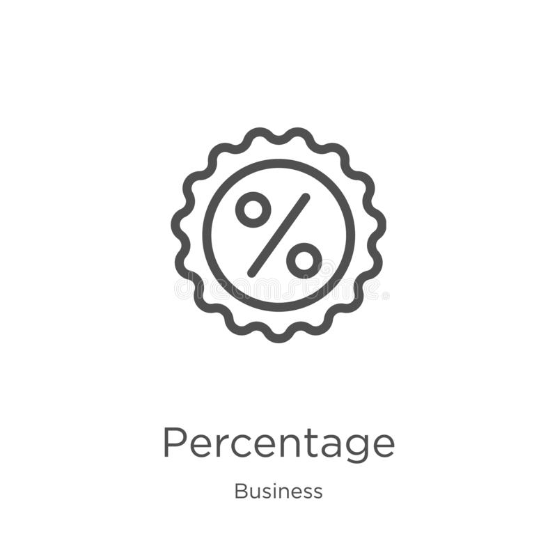 percentage icon vector from business collection. Thin line percentage outline icon vector illustration. Outline, thin line stock illustration
