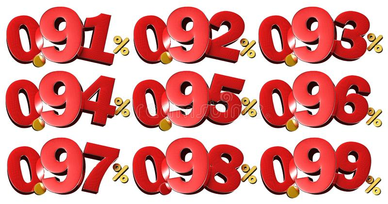 Percentage numbers 3D.With Clipping Path. stock illustration
