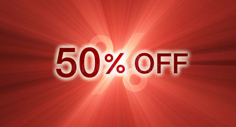 Percentage off half discount banner flare. A 50% percent off banner in red, with glowing light halo and flares. Other percentages of discount are available