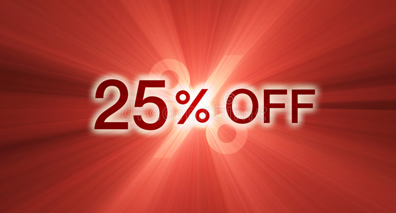 Percentage off discount red banner royalty free illustration
