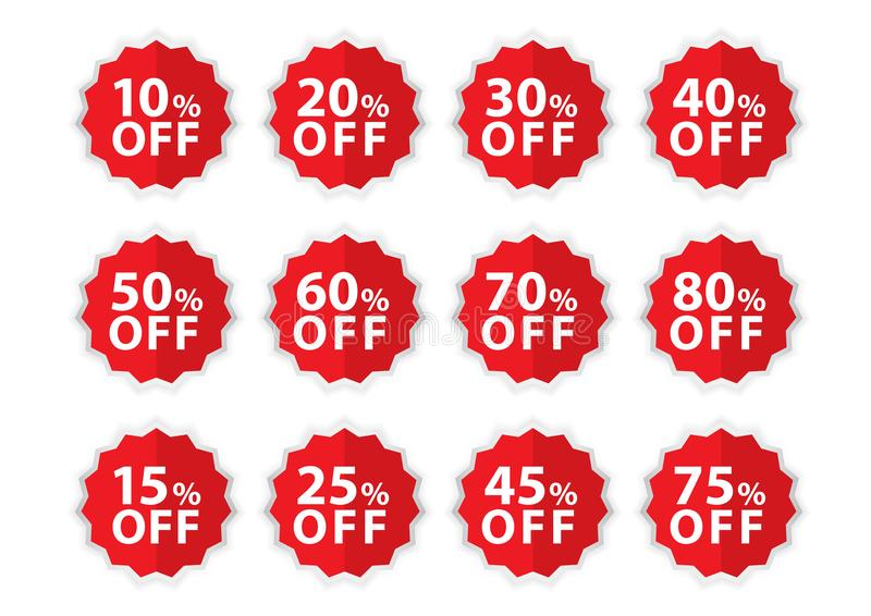 Percentage Off stickers, Sale Tags, Red Sale template, Labels, Discount, icon vector. Illustration royalty free illustration