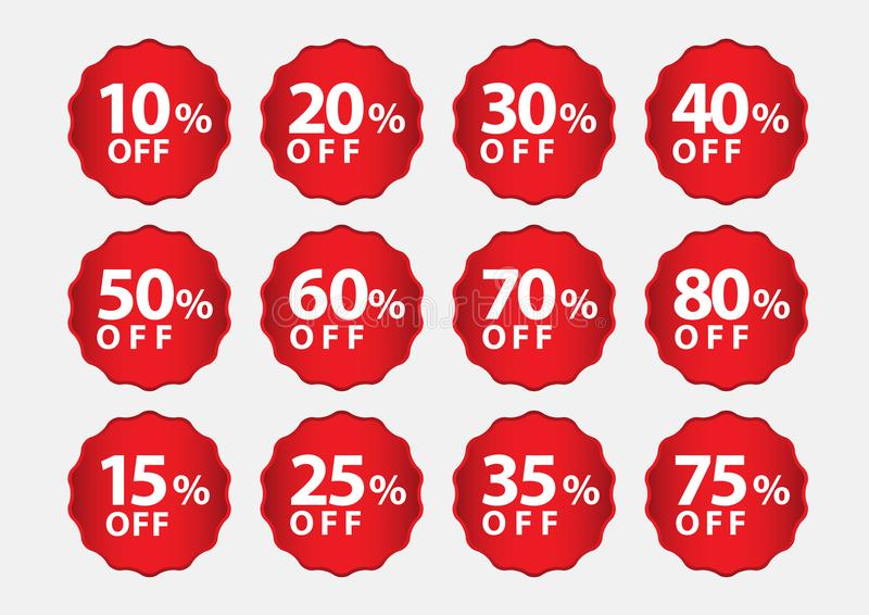 Percentage Off stickers, Sale Tags, Red Sale template, Labels, Discount, icon vector. Illustration stock illustration