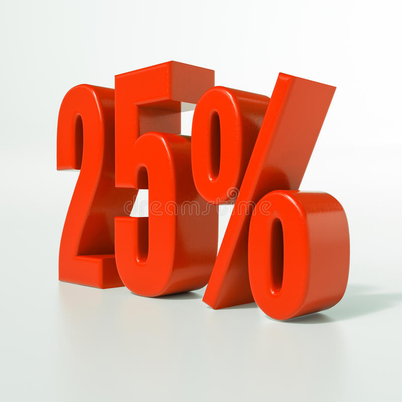 Percentage sign, 25 percent. 3d render: 25 percent, percentage discount sign on white, 25 stock image