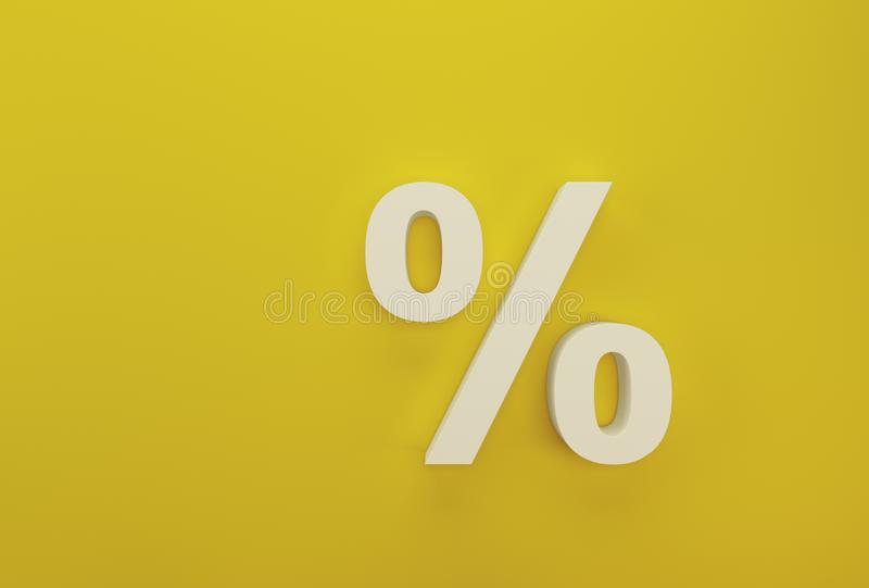 Percentage sign symbol icon white on yellow background.  stock images