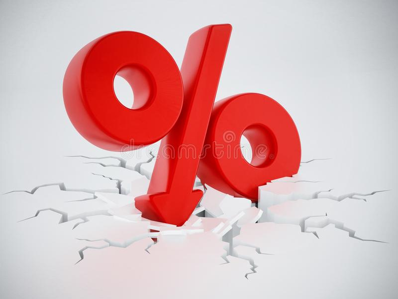Percentage symbol with arrow on cracked ground. 3D illustration stock illustration