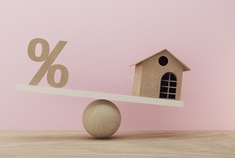 Percentage symbol icon and house a balance scale in unalike. financial management concept : depicts short term borrowing for a stock photos