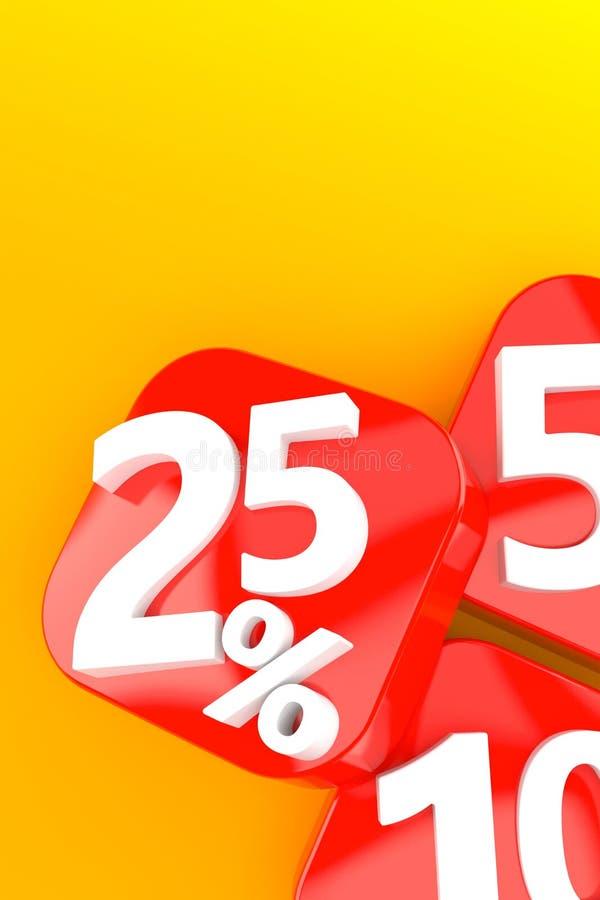 Percentage symbol. On orange background. 3d illustration stock illustration
