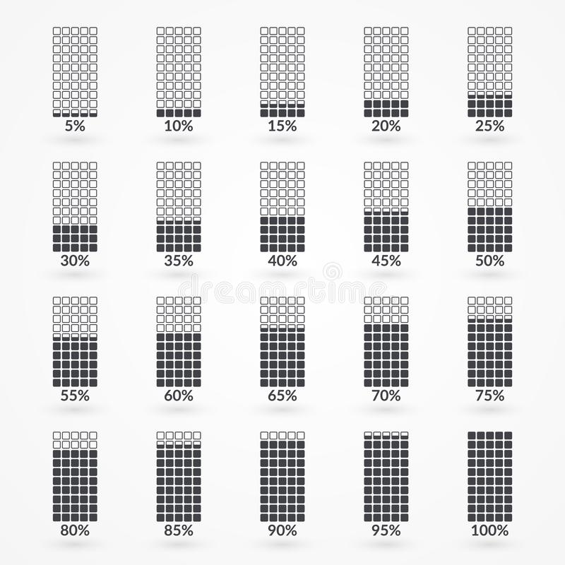 Percentage vector infographic icons isolated. 5 10 15 20 25 30 35 40 45 50 55 60 65 70 75 80 85 90 95 100 percent square charts. Set for business, finance stock illustration
