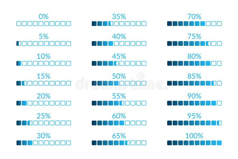 Percentage vector infographic icons isolated. 5 10 15 20 25 30 35 40 45 50 55 60 65 70 75 80 85 90 95 100 0 percent square charts vector illustration