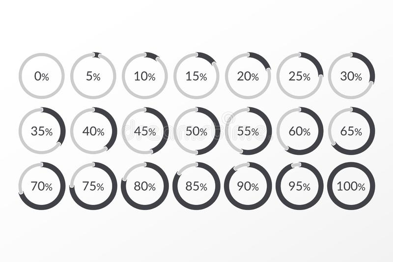 Percentage vector infographic icons. 0 5 10 15 20 25 30 35 40 45 50 55 60 65 70 75 80 85 90 95 100 percent pie chart symbols. Ð¡ircle signs for download, web royalty free illustration