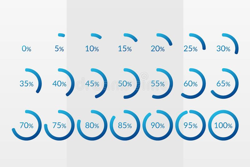 Percentage vector infographic icons. 0 5 10 15 20 25 30 35 40 45 50 55 60 65 70 75 80 85 90 95 100 percent pie chart symbols. Isolated circle signs for stock illustration