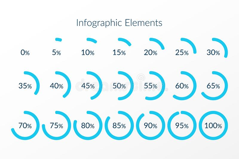 Percentage vector infographic icons. 0 5 10 15 20 25 30 35 40 45 50 55 60 65 70 75 80 85 90 95 100 percent pie chart symbols. Isolated circle signs for vector illustration