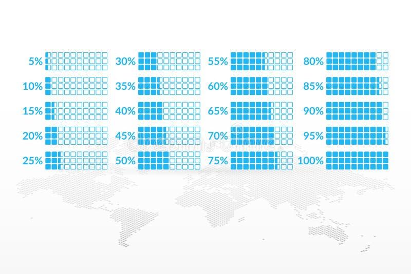Percentage vector infographic icons set. 5 10 15 20 25 30 35 40 45 50 55 60 65 70 75 80 85 90 95 100 percent charts. Percentage vector infographic icons set on stock illustration