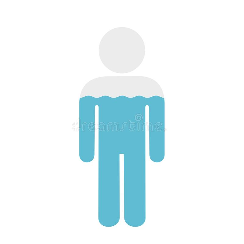 Water in human body. Percentage of water in human body - proportional level of liquid and fliud in the mass of man and male. Hydration, ratio of liquid, water royalty free illustration