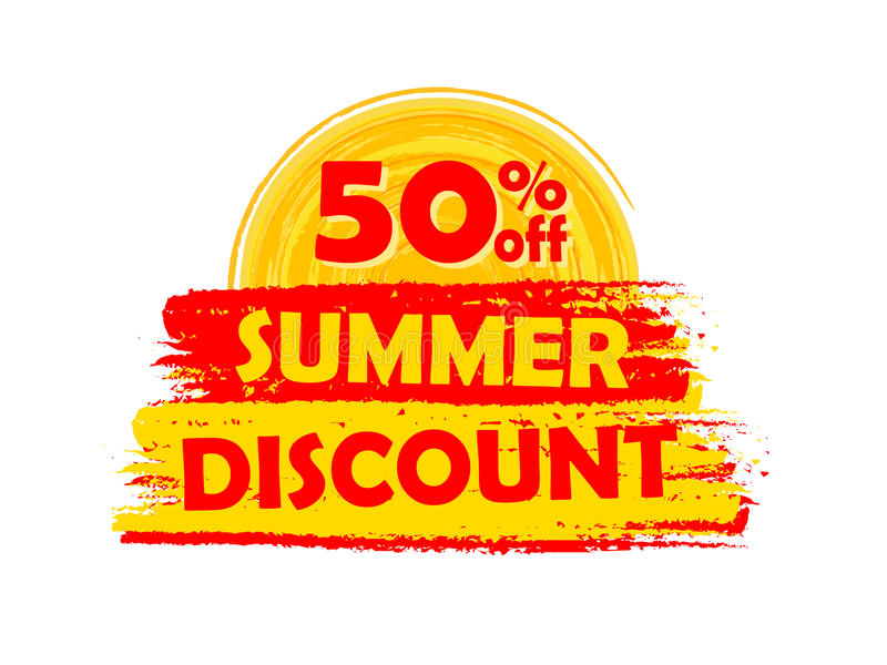 50 percentages off summer discount with sun sign, drawn label. 50 percentages off summer discount banner - text in yellow and orange drawn label with sun symbol stock illustration