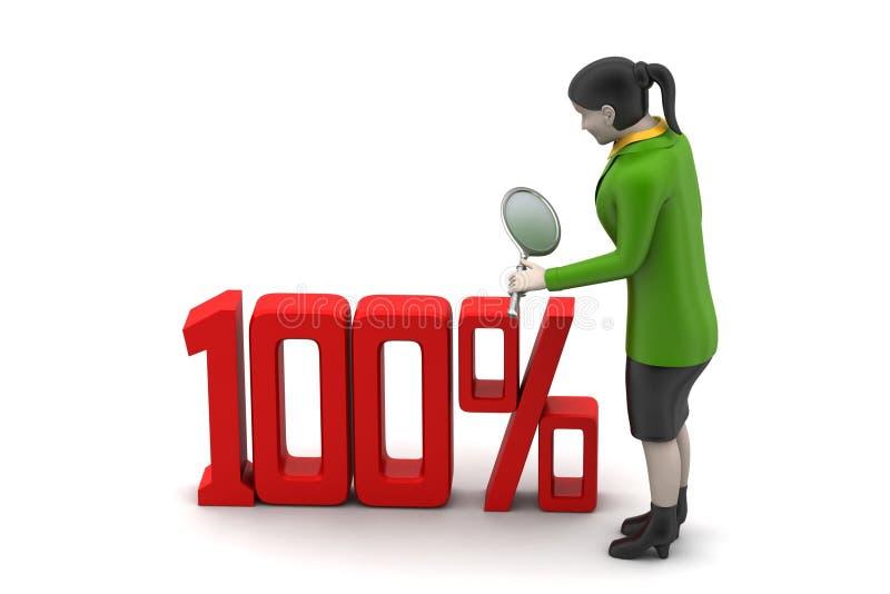 percentageteken met vrouw royalty-vrije illustratie