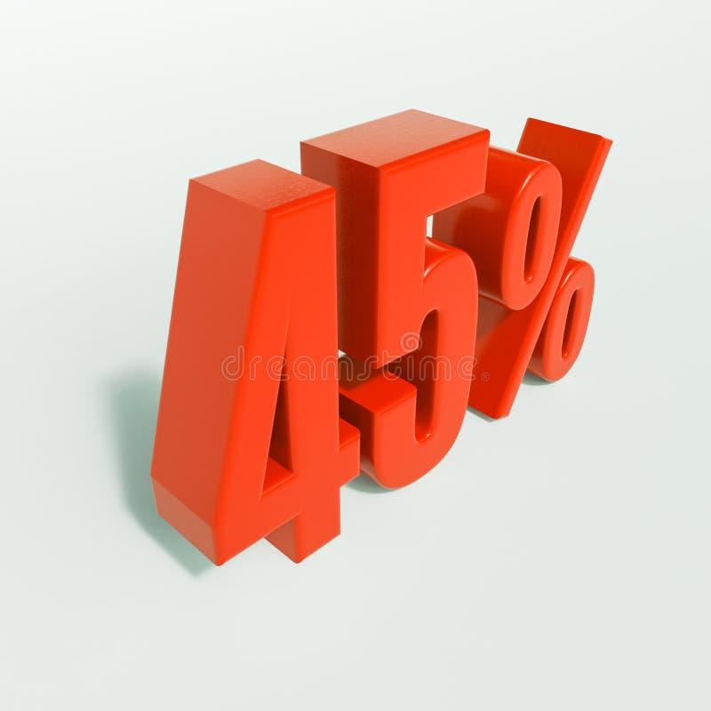 Percentageteken, 45 percenten royalty-vrije stock foto