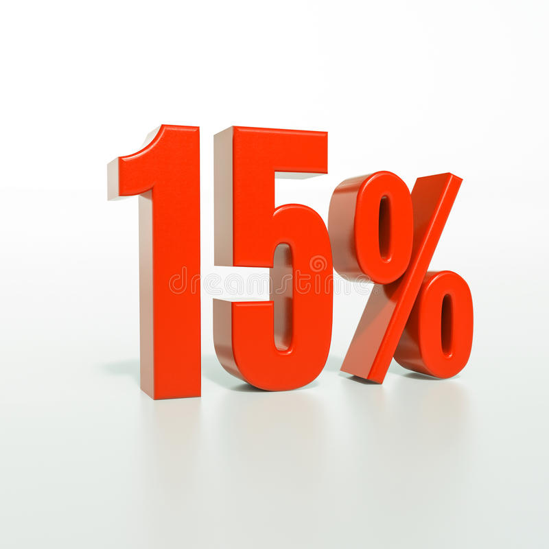 Percentageteken, 15 percenten royalty-vrije stock foto