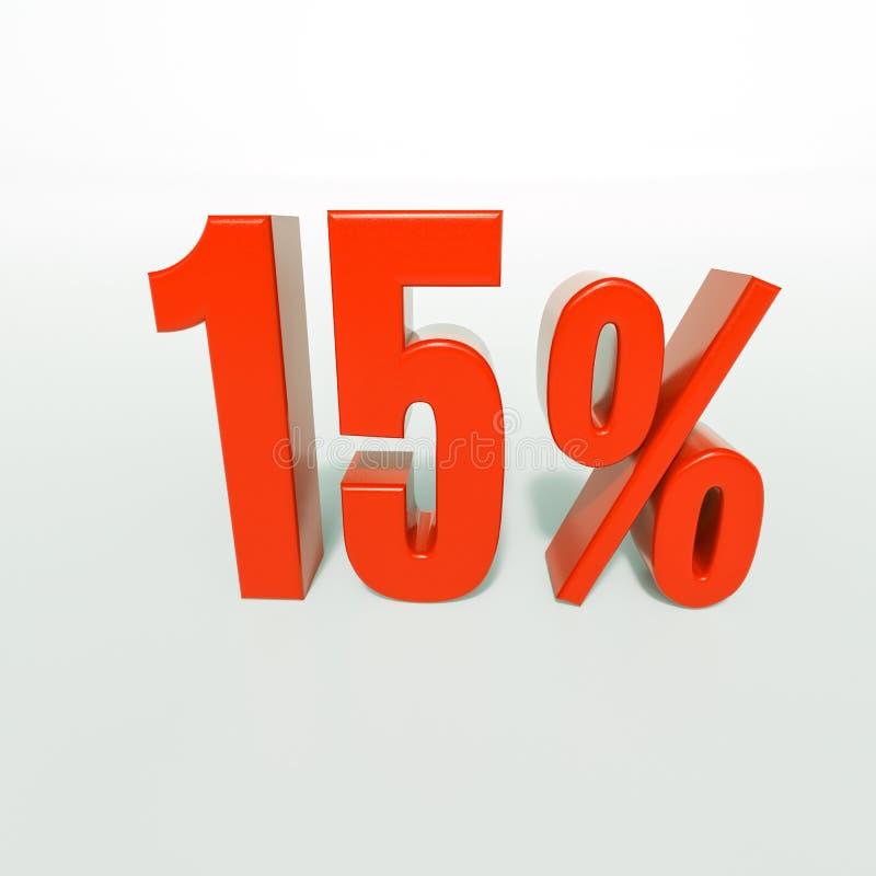 Percentageteken, 15 percenten stock foto