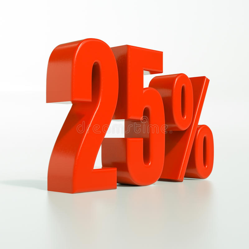 Percentageteken, 25 percenten royalty-vrije stock fotografie