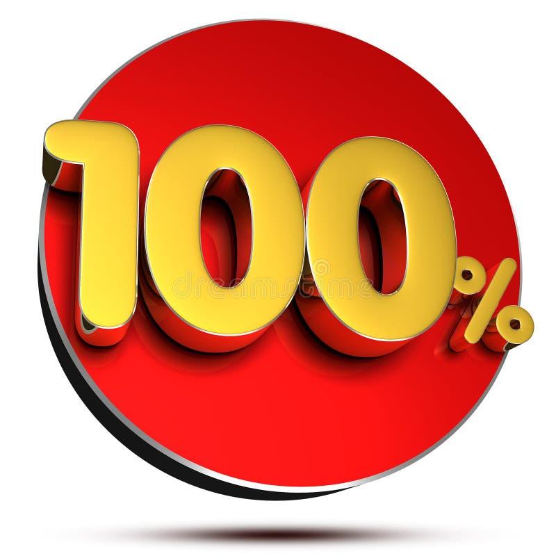 100 percenten 3d Met het knippen van weg stock illustratie
