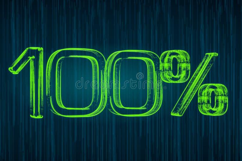 100 percenten lichtgevende inschrijving, het 3D teruggeven vector illustratie