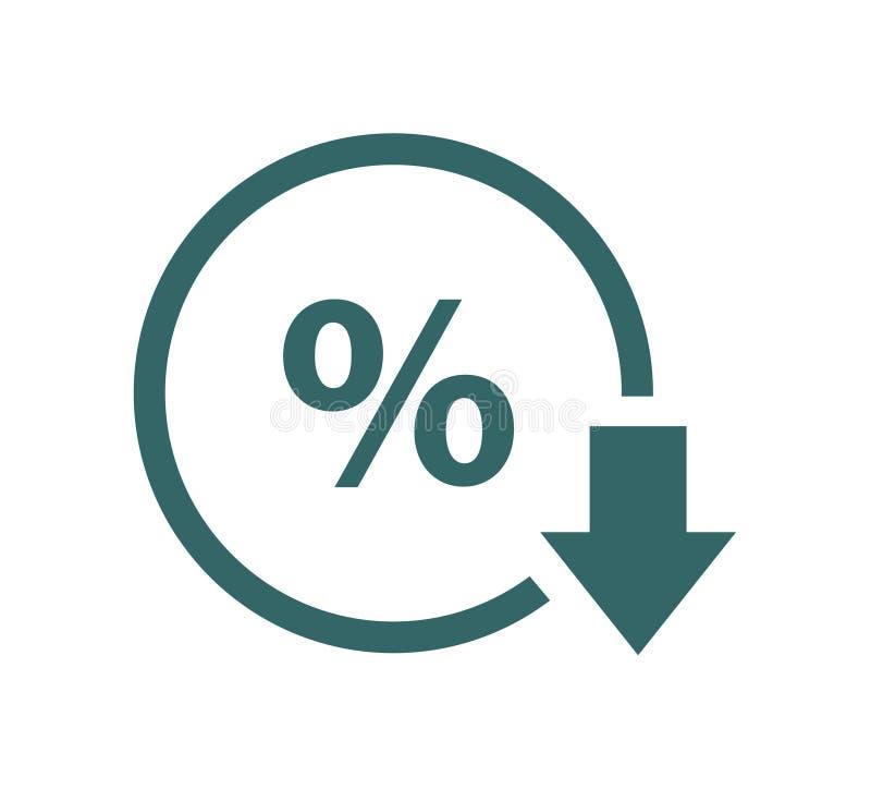 Percenten onderaan lijnpictogram Percentage, pijl, vermindering Het concept van het bankwezen vector illustratie