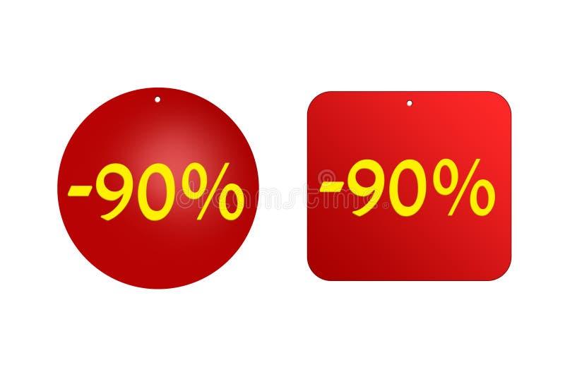 90 percenten van rode stickers op een witte achtergrond kortingen en verkoop, vakantie en onderwijs vector illustratie