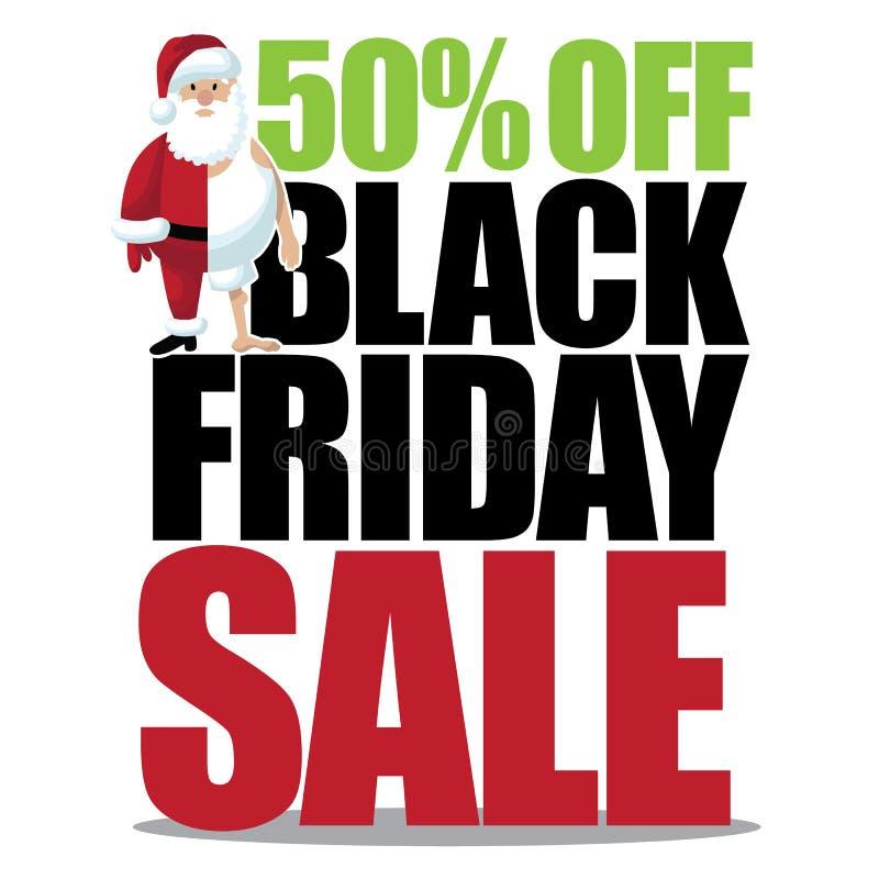 50 percenten van zwarte vrijdag met half geklede kleine santa stock illustratie