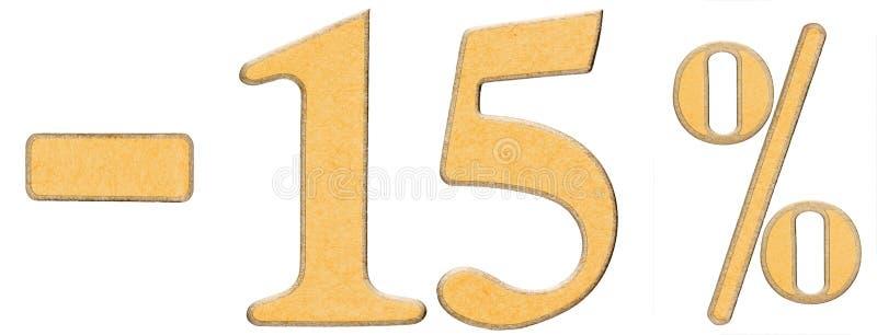 Percenten weg korting Minus 15 vijftien percenten, cijfers isolat stock afbeelding