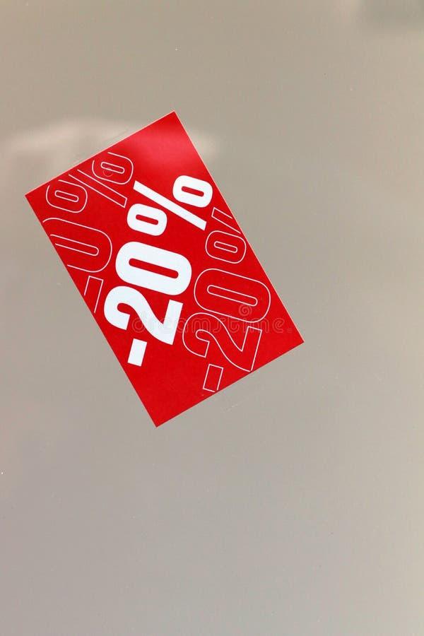 20 percentenprijs van de achtergrond van de kortingsbevordering stock fotografie
