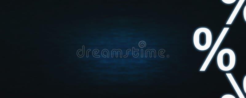 Percentensymbool op een donkerblauwe achtergrond Het concept van de verkoop - hand met vergrootglas rente stock fotografie