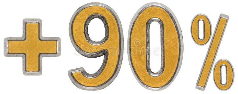 Percentenvoordelen, plus 90 negentig die percenten, cijfers op w worden geïsoleerd stock afbeeldingen