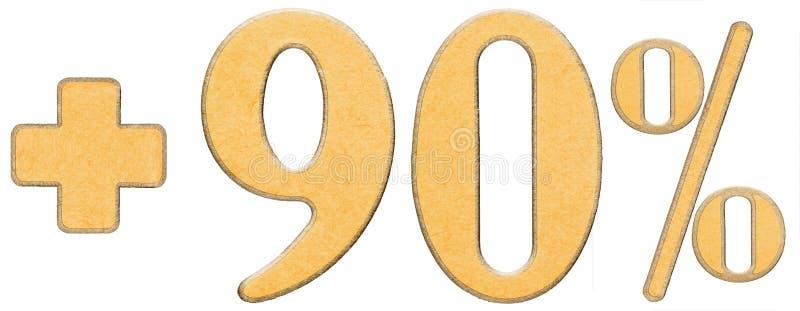 Percentenvoordelen, plus 90 negentig die percenten, cijfers op w worden geïsoleerd royalty-vrije stock foto