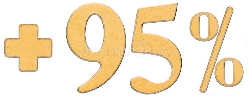 Percentenvoordelen, plus 95 vijfennegentig percenten, geïsoleerde cijfers stock afbeeldingen