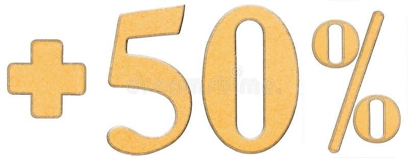 Percentenvoordelen, plus 50 vijftig die percenten, cijfers op wh worden geïsoleerd stock fotografie