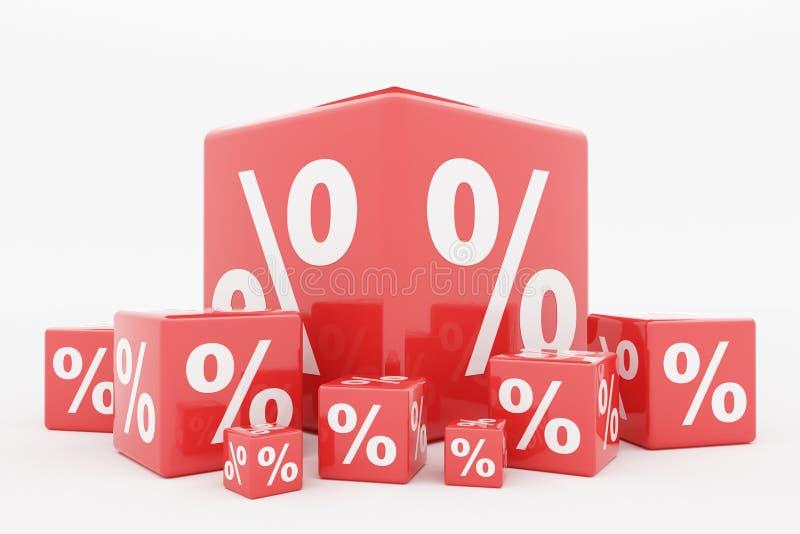 Percentuale rossa del cubo illustrazione di stock
