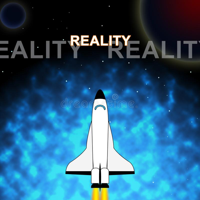 Perception Vs Reality Words Compares Thought Or Imagination With Realism - 3d Illustration. Perception Vs Reality Words Compares Thought Or Imagination With royalty free illustration