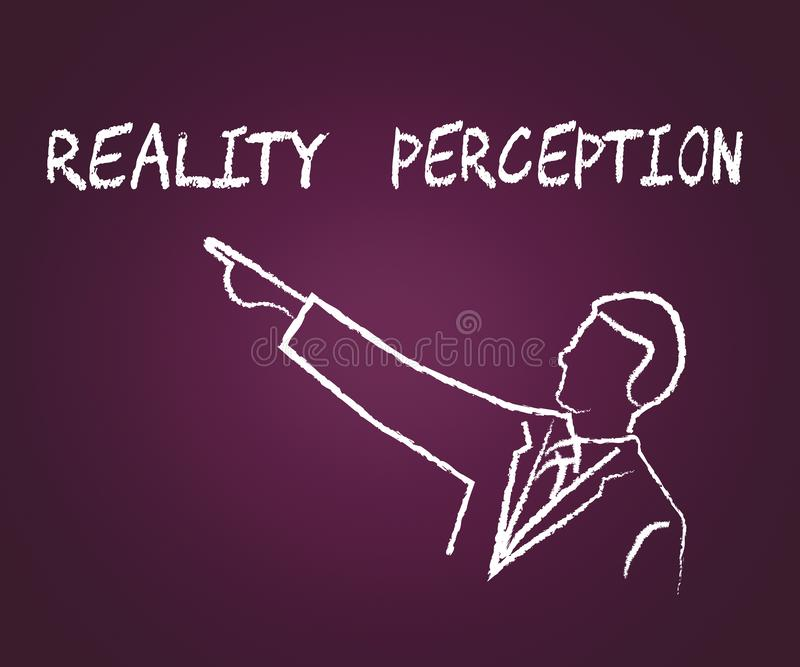 Perception Vs Reality Words Compares Thought Or Imagination With Realism - 3d Illustration. Perception Vs Reality Words Compares Thought Or Imagination With vector illustration