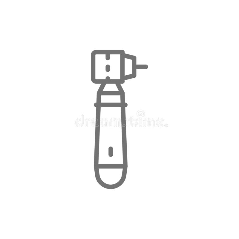 Perceuse dentaire de vecteur, ligne icône d'instrument de dent illustration stock