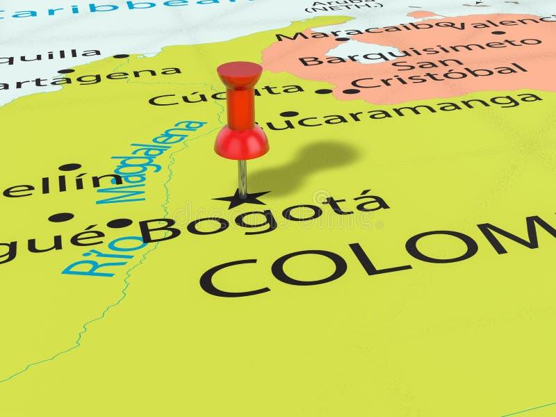 Percevejo no mapa de Bogotá ilustração royalty free