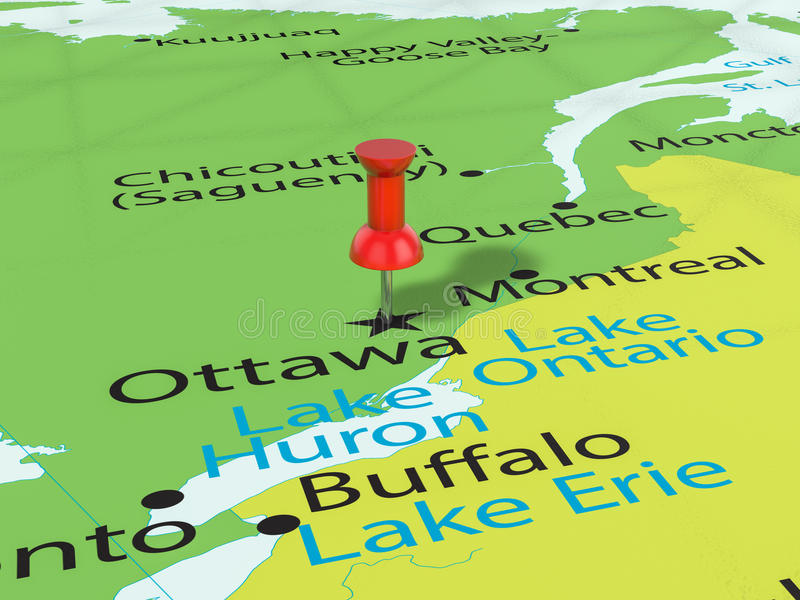Percevejo no mapa de Ottawa ilustração do vetor