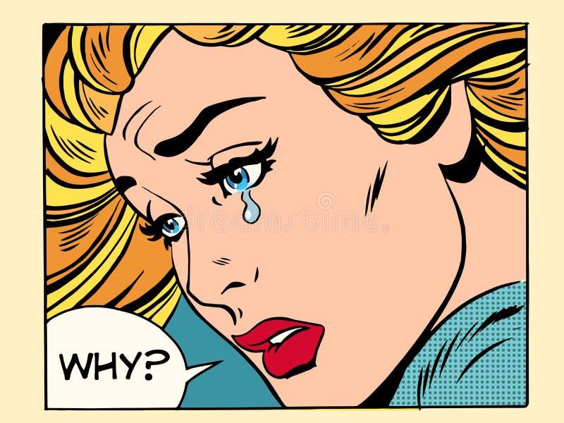 Perché gridare della ragazza illustrazione di stock